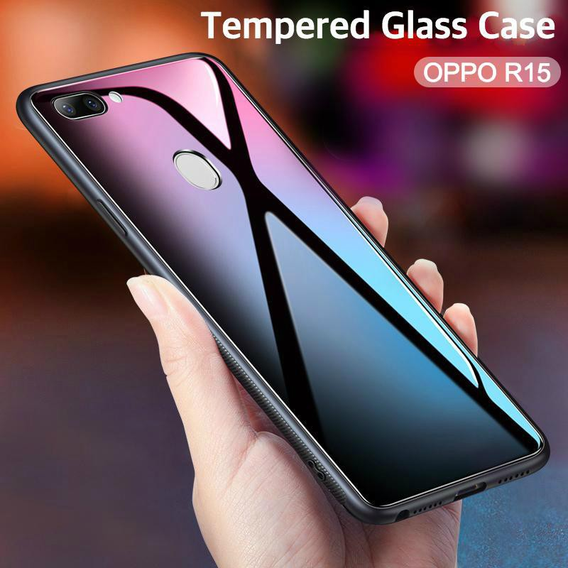 timeless design e7bd3 f437b OPPO R15 Luxury Tempered Glass Case cover Soft Frame protection