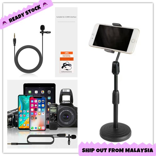 Microphone Mic 3.5mm Studio Stereo Audio Record Video Table Desk Phone Stand Live Stream Selfie Adjustable Phone Holder