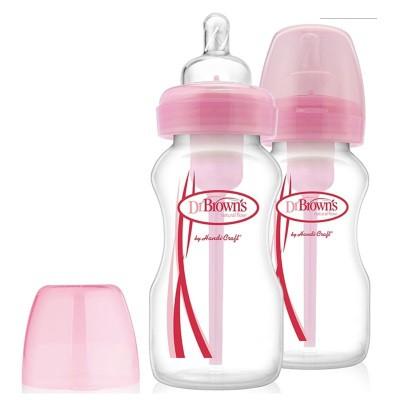 Dr Brown: Wide Neck - Options - 270ml Color PP Bottle - 2pcs
