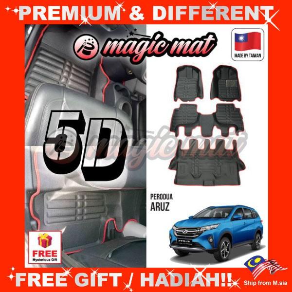 [FREE GIFT Gift] PERODUA ARUZ (7 Seater) MAGIC MAT 5D OEM PU Leather Floor Mat Anti-Slip Easy Clean Carpet