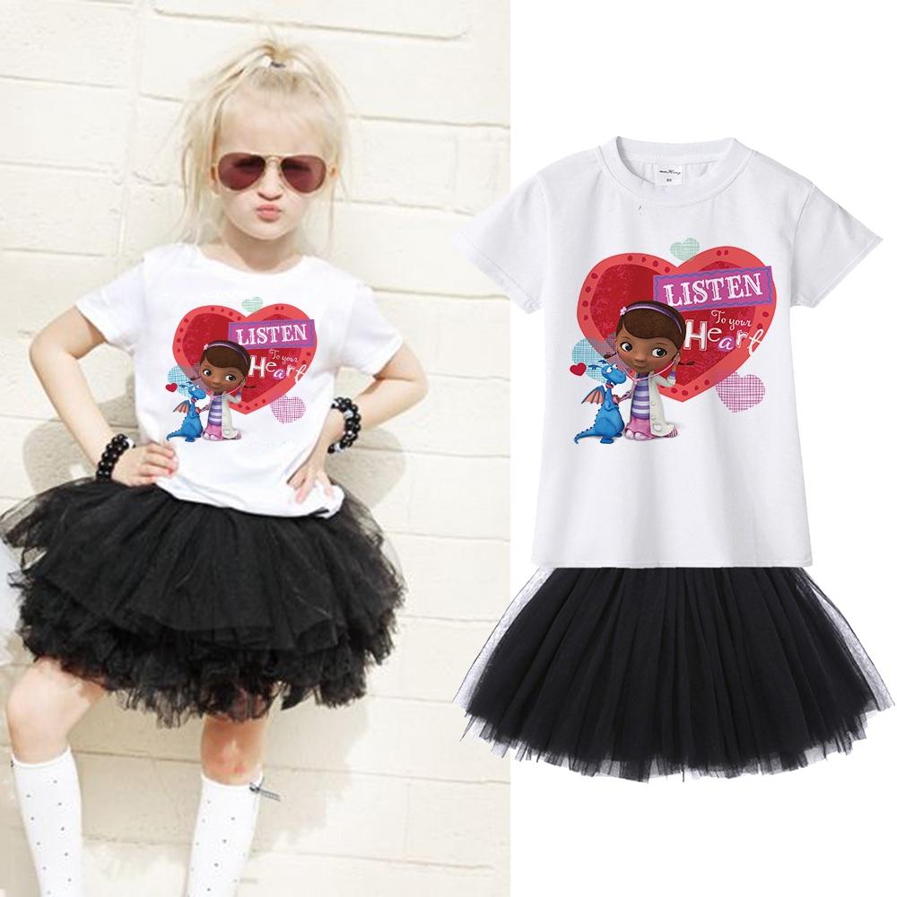 40373c8b64 Doc Mcstuffins Children Girl Clothing Set T-shirt + Tutu Skirt 2pcs Suit  for Kid