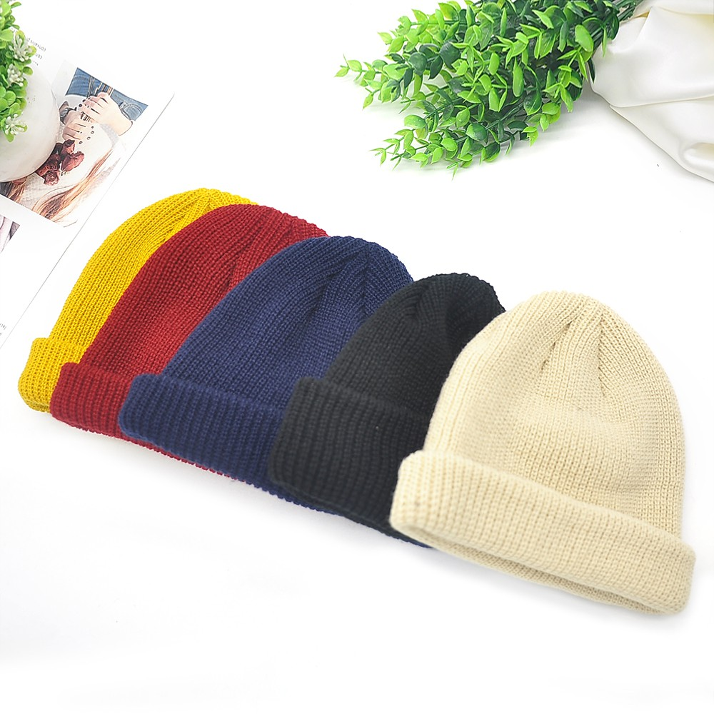 899a8d370 Knitted Wool Beanie Cap Skullcap Sailor Cuff Retro Navy Style Hat Brimless