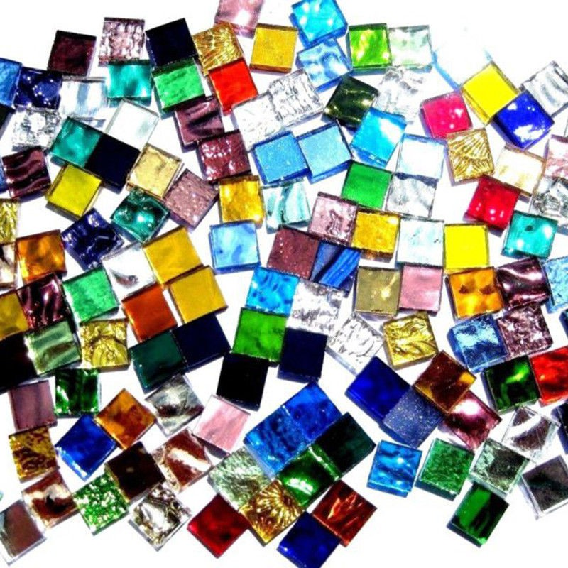 100Pcs 10x10mm Mixed Color Clear Square Glass Mosaic Tiles Tessera Art Craft Hot