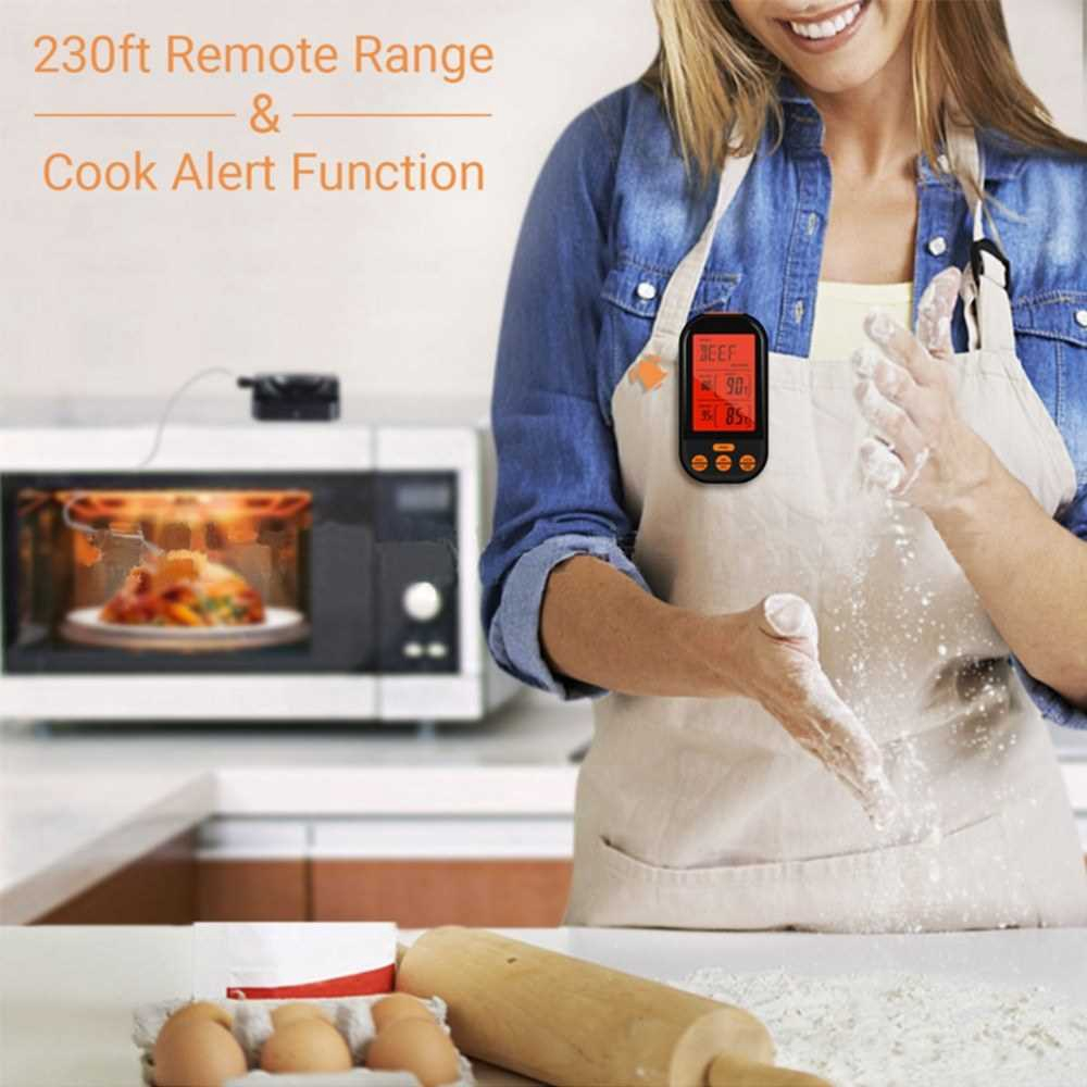 Wireless Meat Thermometer Food Thermometer Barbecue BBQ Grill Smoker Thermometer Cooking Food Oven Digital Thermometer