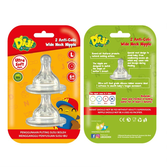 Didi & Friends 2 Anti-Colic Wide Neck Nipple (BPA-Free)