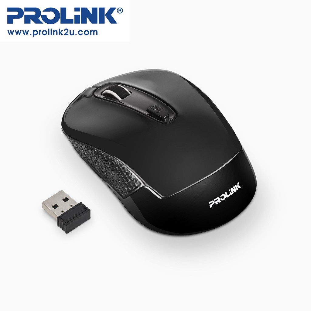 PROLiNK Wireless Optical Mouse 1600DPI with On/Off Switch Power Saving Free AA Battery PMW6008