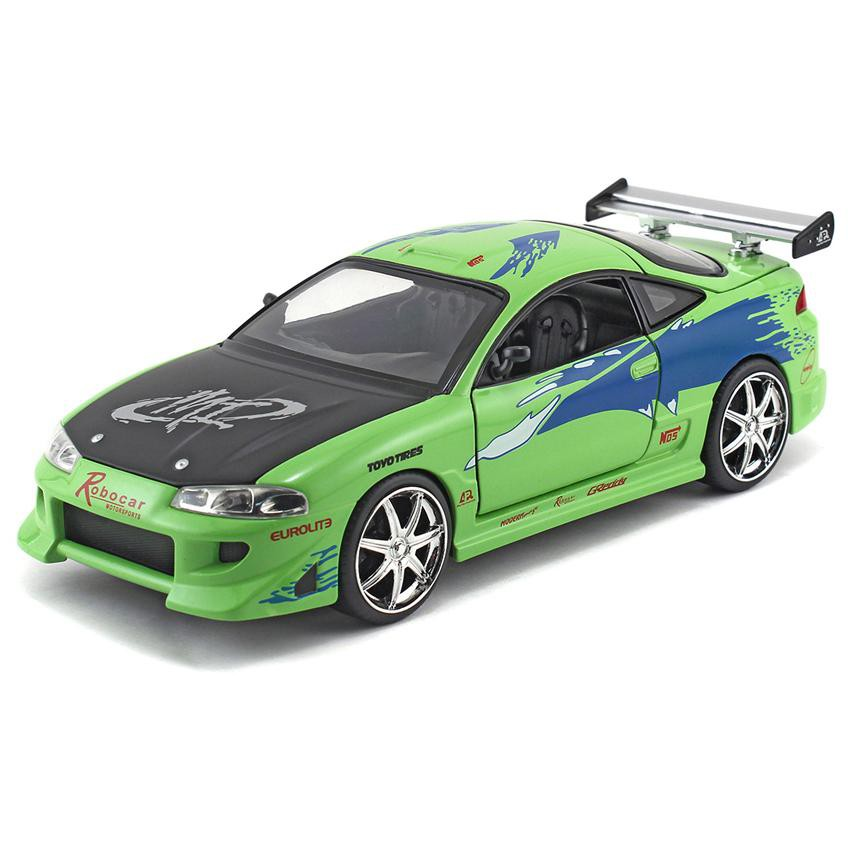 JADA 1:24 FAST & FURIOUS METAL DIE-CAST BRIAN'S 1995 MITSUBISHI ECLIPSE CAR (GREEN) MODEL COLLECTION 97603