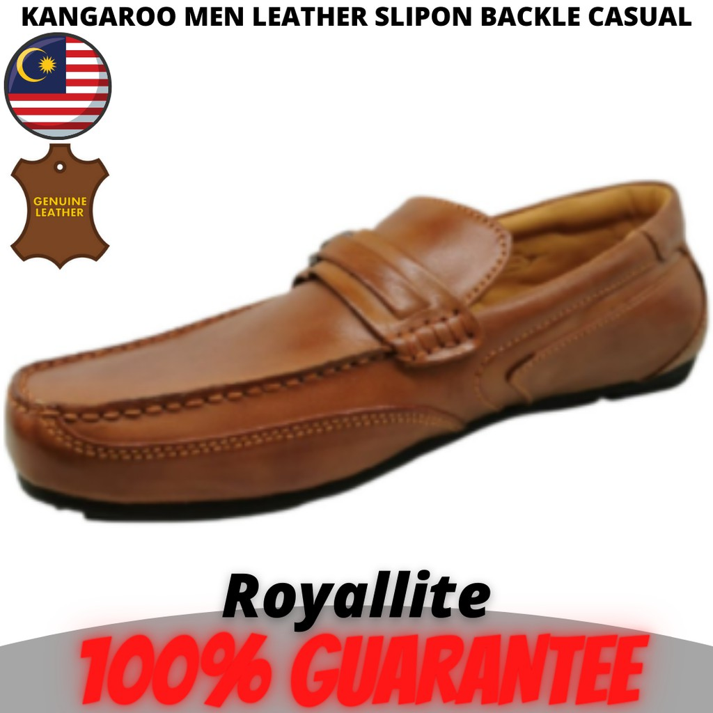KANGAROO MEN LEATHER SHOE SLIPON BACKLE CASUAL FASHION (9502) A15Camel