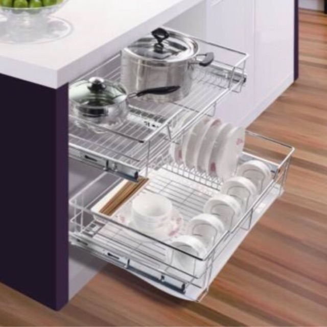 Kitchen Cabinet Drawer Pull Out Basket With Dish Rack Shopee