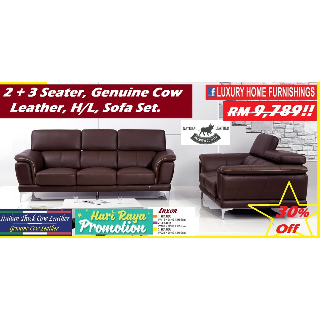 LUXOR, 2 + 3 Seater  Genuine Thick Italian Cow Leather, H/L, Sofa SET, RM 9,789!! ENJOY 30% Off!!  EXPORT SERIES!!