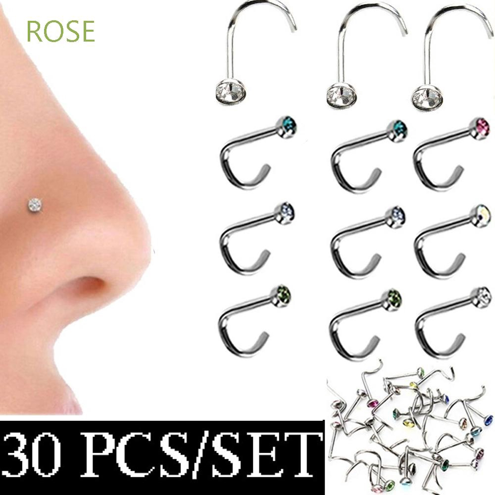Rose 30pcs Lot Multicolor Surgical Steel Thin Gem Body Jewelry