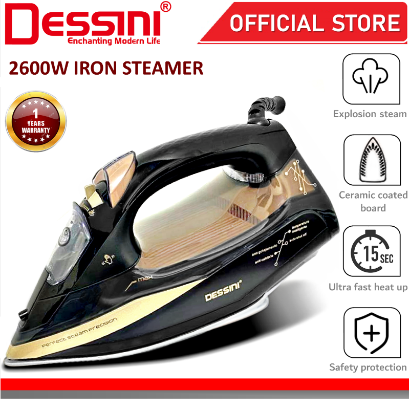 DESSINI ITALY Electric Ceramic Soleplate Garment Steam Iron Sprayer Steamer Clothes Brush Seterika Baju (2600W)