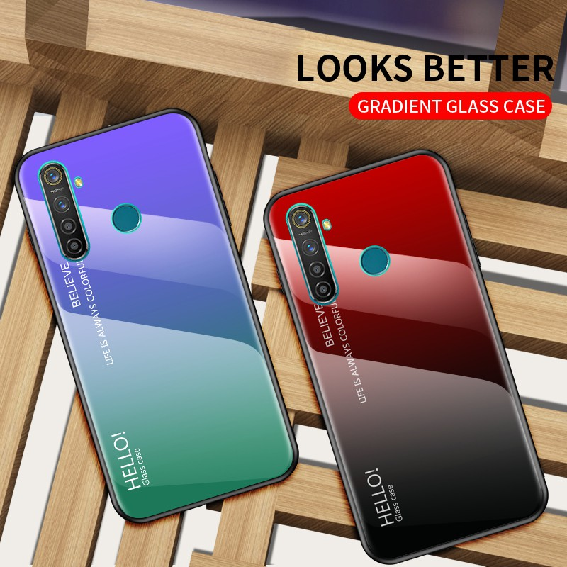 Realme 5 Pro 5s 5i Casing Hp Oppo Real Me Q Xt X2 Pro Gradient Color Tempered Glass Hard Case Soft Tpu Edge Shopee Malaysia