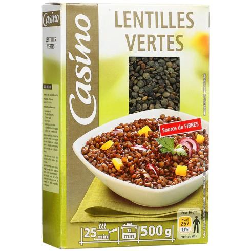 100% PURE & ORGANIC GREEN LENTILS CASINO LENTILLES VERTES - 500G