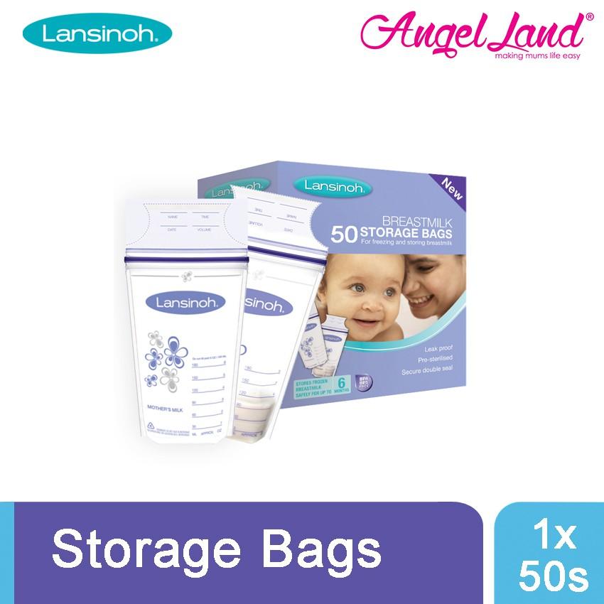 Lansinoh Breastmilk Polyethylene Leak Proof Food Safe Storage Bags Pack of 25