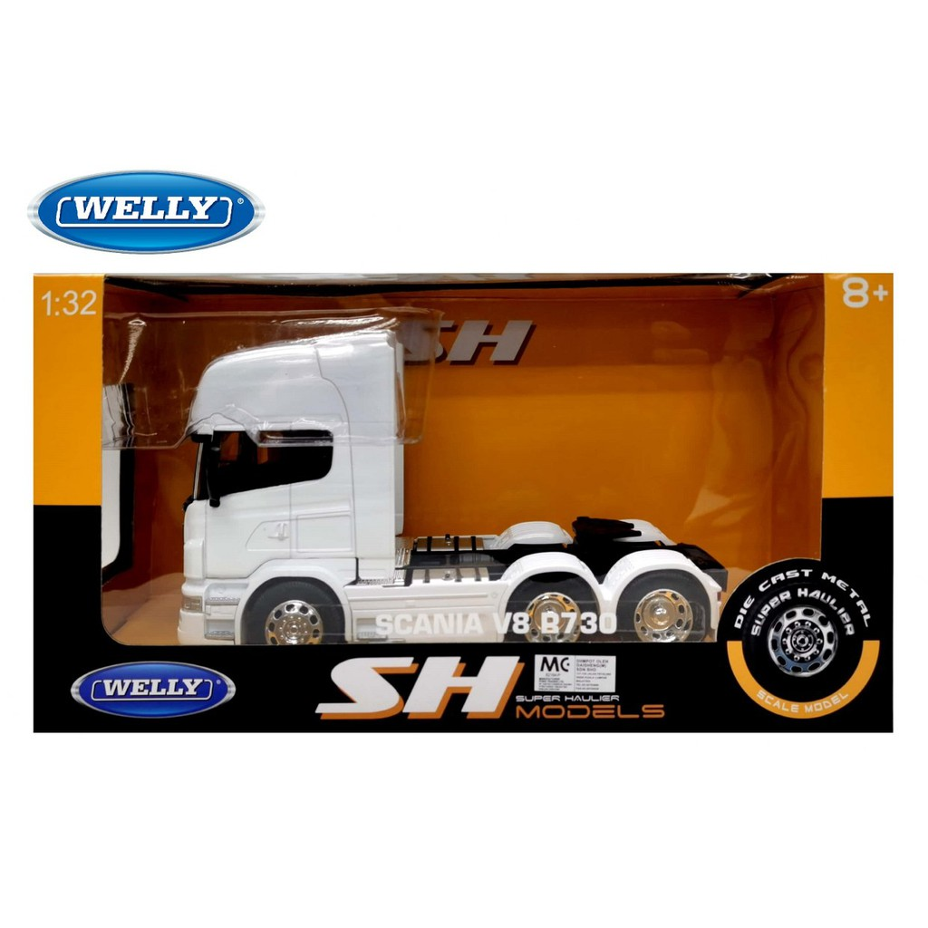 WELLY 1:32 METAL DIE CAST SH SUPER HAULIER SCALE MODEL SCANIA V8 R730 TRUCK (WHITE ) MODEL COLLECTION 32670L-W (32670WW)