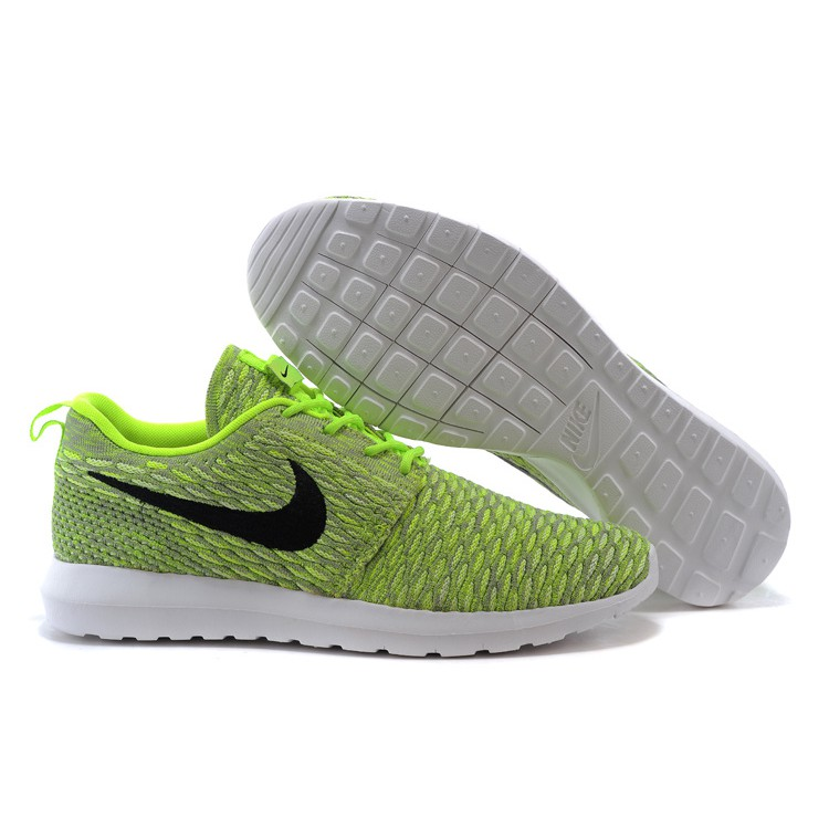 Nike Roshe Run Flyknit Mens Sneakers Fluorescent Green