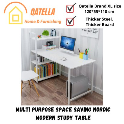 Qatella THE Study Deck Writing Desk Office Table With Book Shelf 3 Tiers (120x55x110cm) Study Table Office Desk Table H
