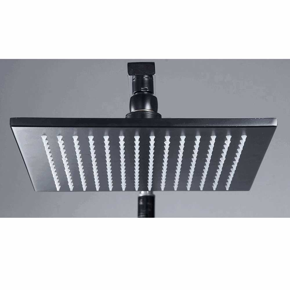 12 Wall Ceiling Mounted Square LED Shower Spray Adjustable Stainless Steel ORB Sprinkler Head Temperature Sensor 3 Colo