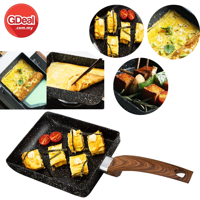 Tamagoyaki Pan Omelette Pan Cooking Tools Non-stick Frying Pan Flat Bottom Square Egg Roll Steak Induction Cooker