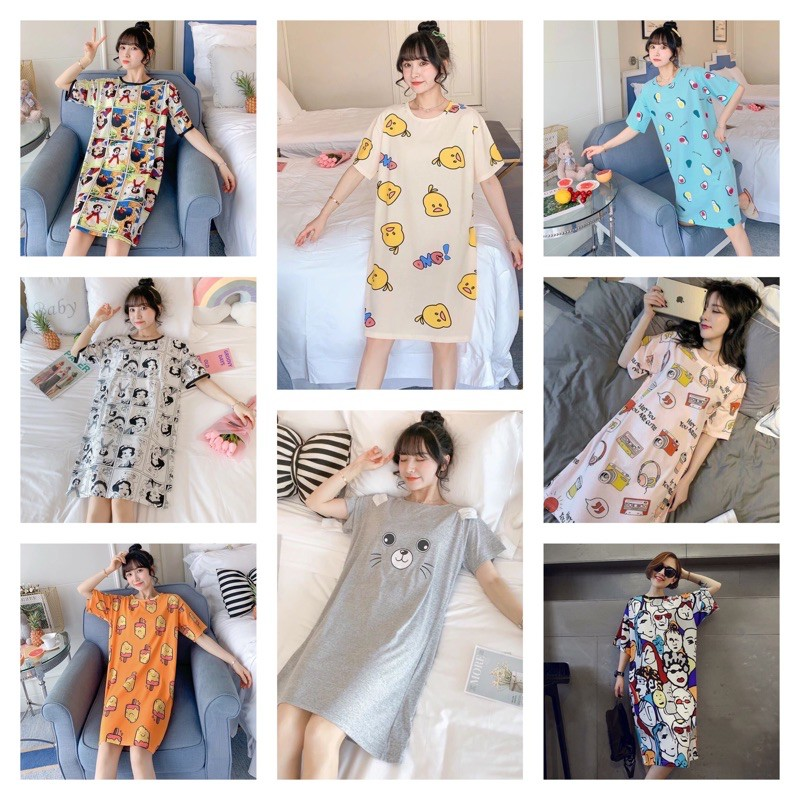[READY STOCK] WOMEN COTTON SLEEPWEAR DRESS WITH PRINTED DESIGN - XXL SIZE (57-64KG)