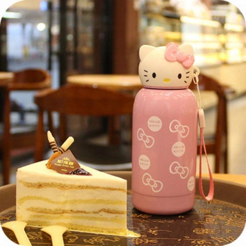 [ READY STOCK ]  280ml Cartoon Hello Kitty Bottle Stainless Steel Cute Bottle Budak