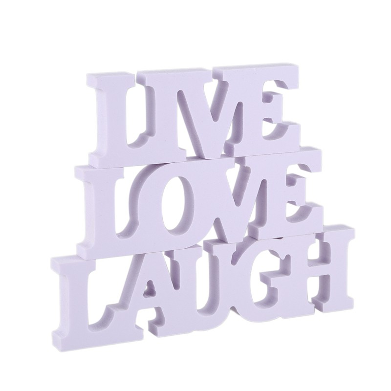 3Pcs White Wood Cutout Sign LAUGH LIVE LOVE Wall Decoration Gift for Couples
