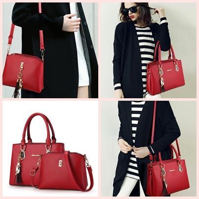 Sling Bag Tote Bag Combo 2 In 1 Set Elegant Women HandBag TopHandle Bag #Beg Wanita
