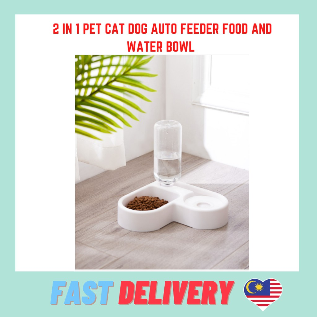 NEW ARRIVAL 2 in 1 Pet Cat Dog Auto Feeder Food And Water Bowl Dispenser
