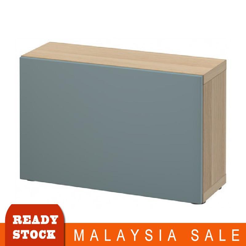 60x20x38 Cm Ikea Besta Shelf Unit With Door White Stained Oak Grey Turquoise