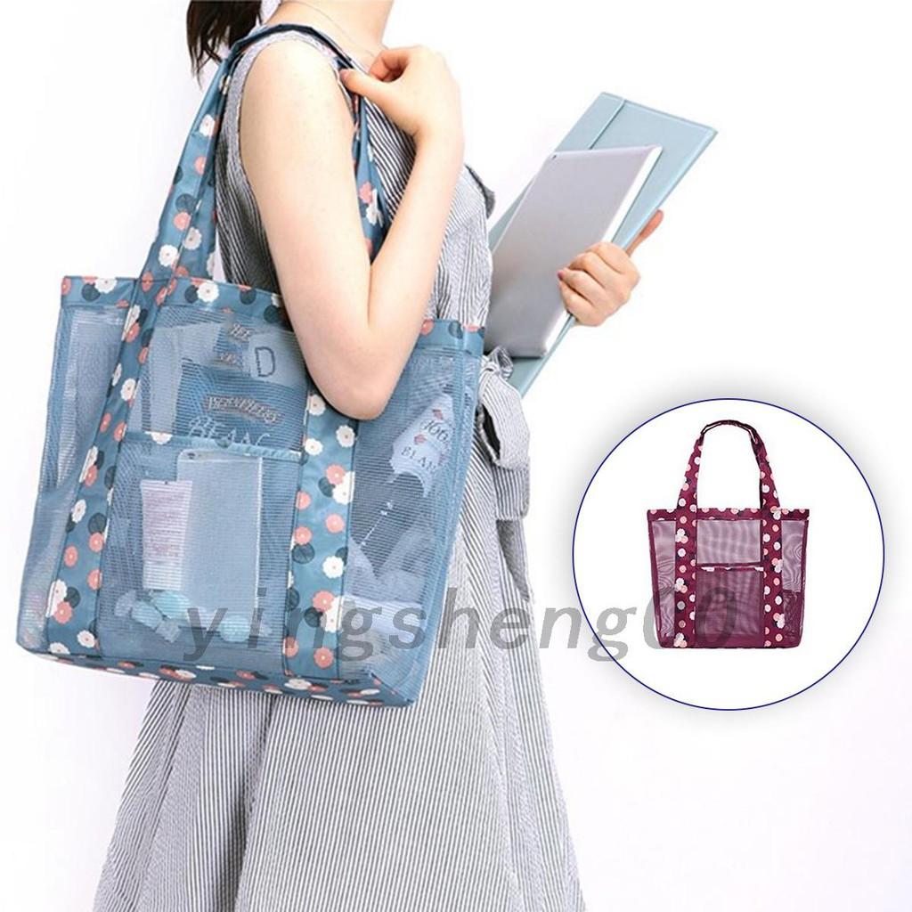 กระเป๋าสะพายไหล่กระเป๋าช้อปปิ้งตาข่ายสำหรับผู้หญิง