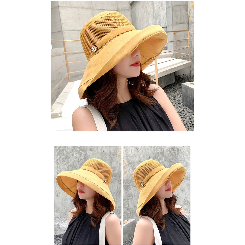 2ff12d530 2019 Spring and Summer Big Head Plus Size Lady Sun Hats Women Outdoors  Beach Large Brim Fisherman Hats Lady Plain Bucket