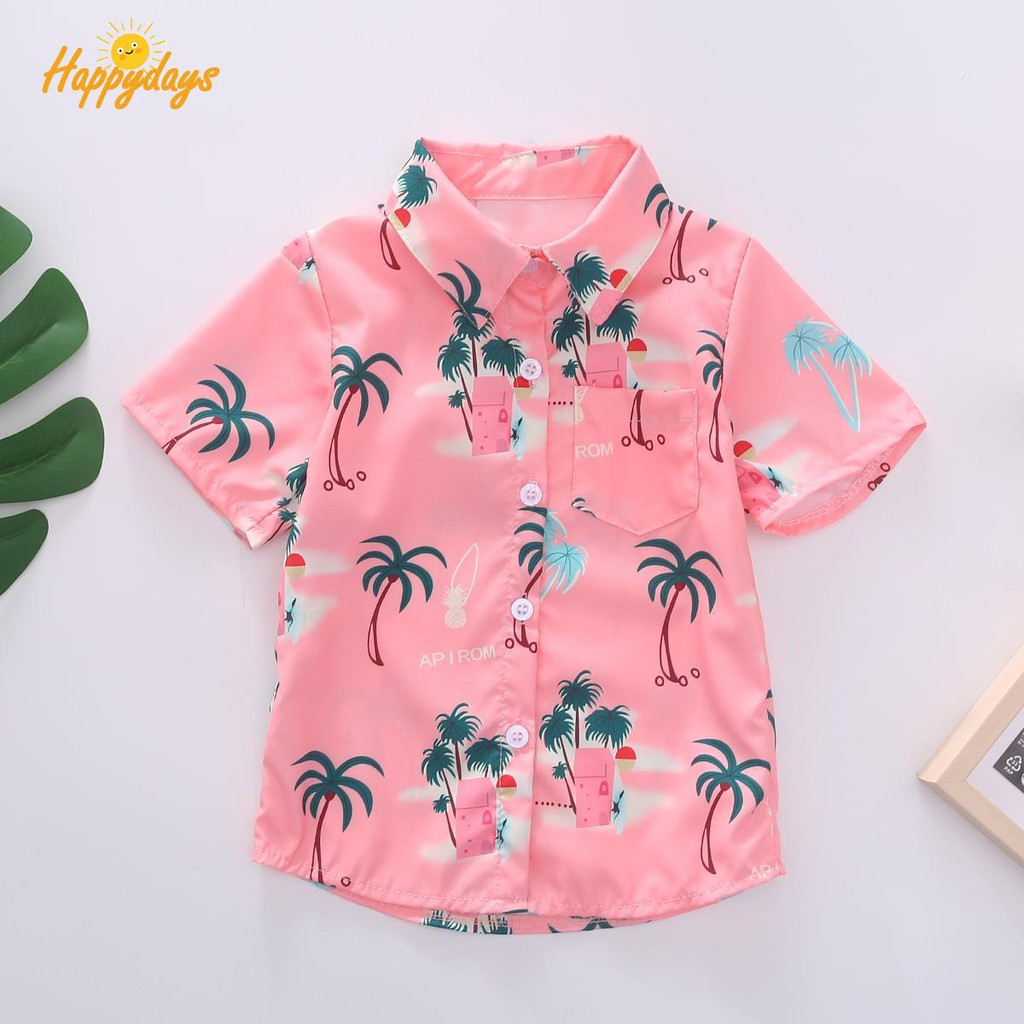 Hawaiian Style Kids Boys Shirts Summer Coconut tree Print Shirt Casual UK Stock