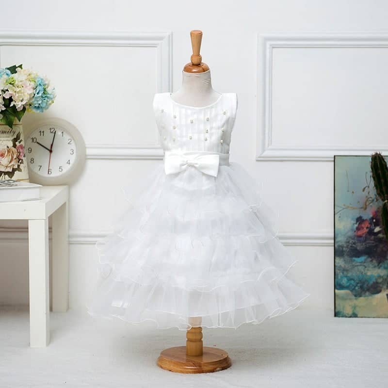 White Bridesmaid Pageant Princess Dress