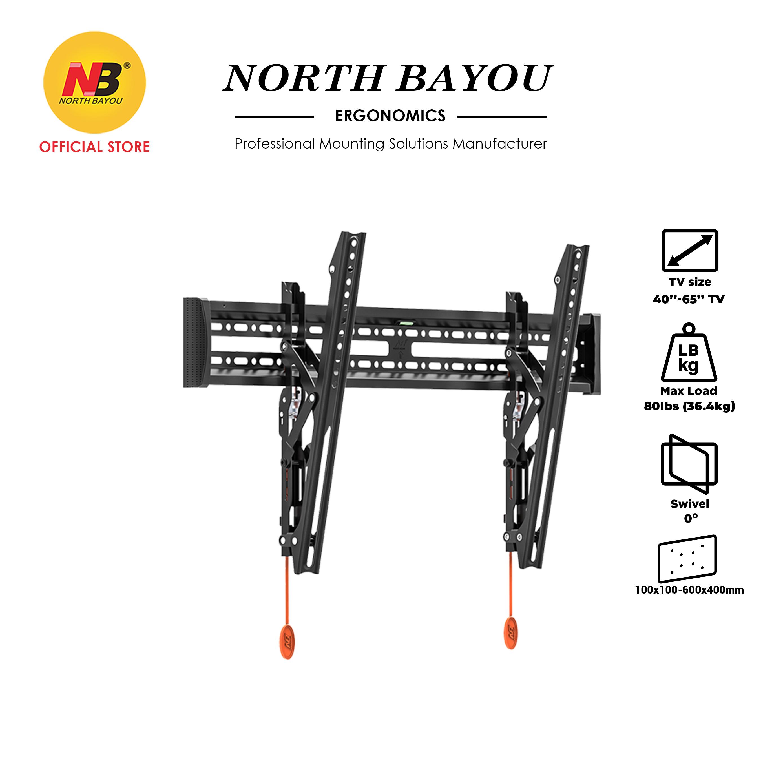 "NB North Bayou NBC3-T Adjustable Tilt Angle TV Wall Mount Slim & Stable Bracket Fit 40"" to 65"" LCD LED Flat Panel TV"
