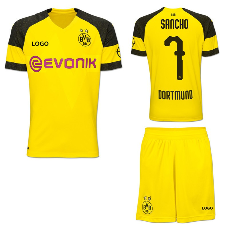buy popular 5425b 0549d 2018-2019 Dortmund No.7 Sancho Home Kit Football shirt Soccer jersey