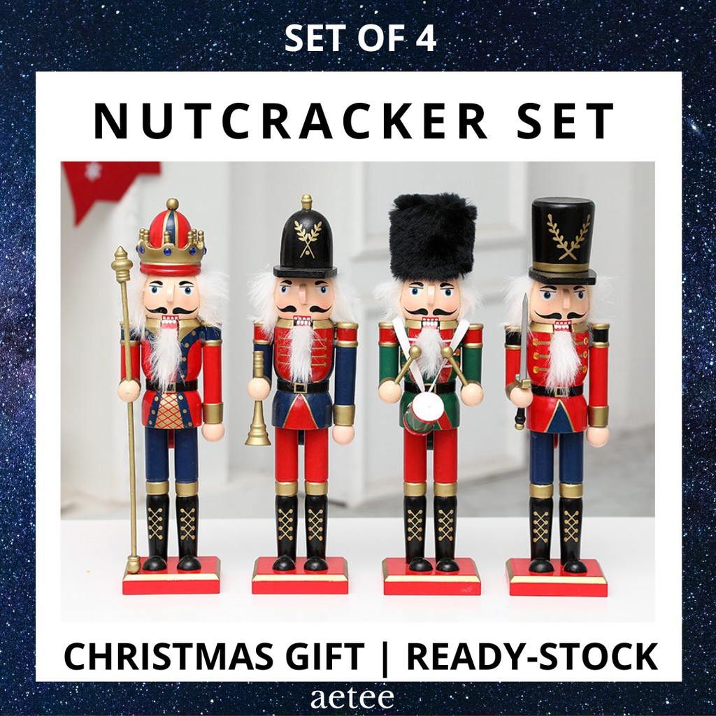 Nutcracker Christmas Decorations Vintage Wooden Doll Set   Height: 30cm   Set of 4 [aetee]