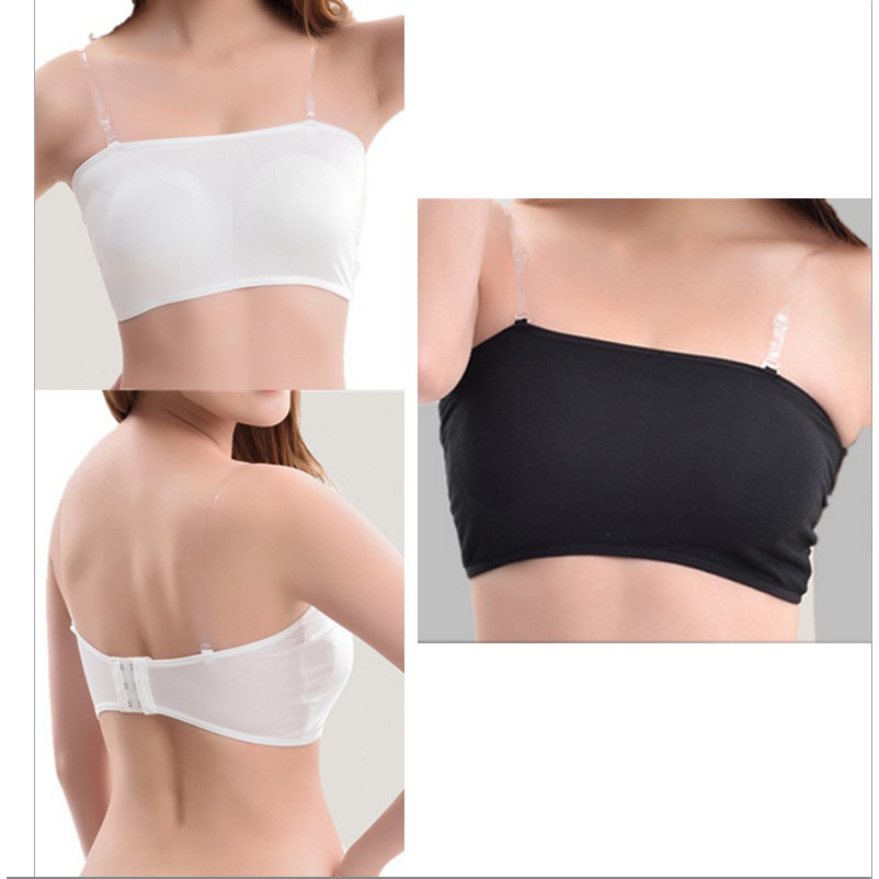 bd9f3fbadefed Adjustable Wireless Padded Vest Top Crop Top Bra Strapless or Strapped