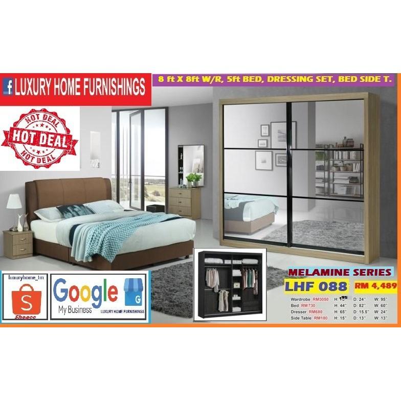 BED ROOM SET, 8ft x 8ft WARDROBE, QUEEN BED, FULL SET, MELAMINE SERIES, BEST BUY PROMOTIONS