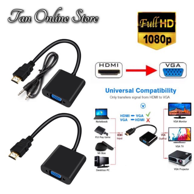 HDMI to VGA Converter Adapter Cable 1080P