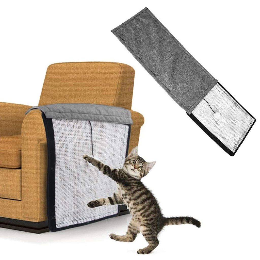 2 in 1 Use Cat Scratching Mat & Natural Sisal Fabric Sofa Shield Furniture Pad Durable n Washable  Pad Cover with 1 ball