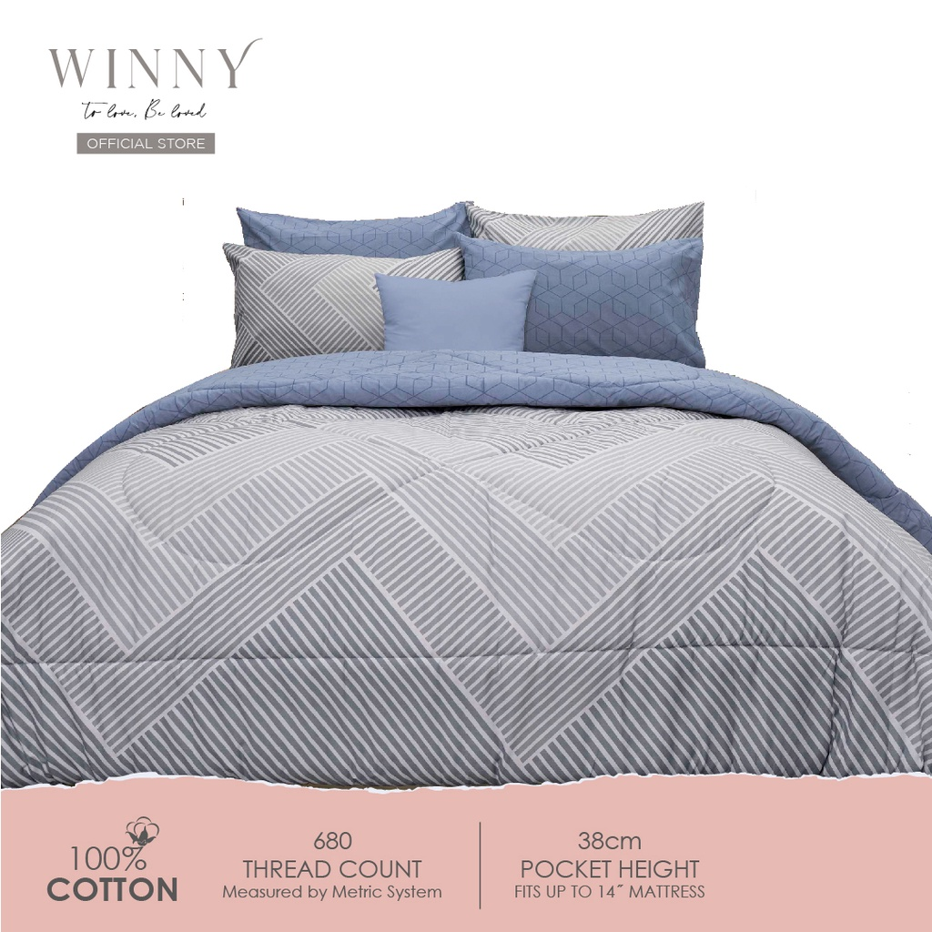 Winny Enliven Fitted Sheet Set-680 TC (SUPER SINGLE/ QUEEN/ KING)-COTTON