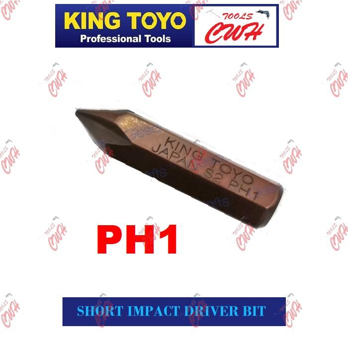 King Toyo KT-2500S Impact Driver Bit 36MM (Short) S2 Steel (1 Piece) PH1 PH2 PH3 (MADE IN TAIWAN)