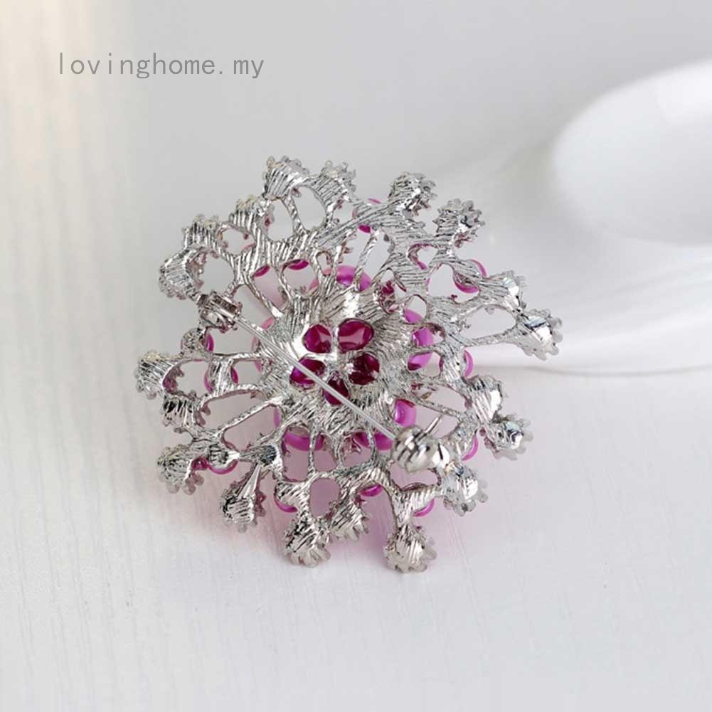14c3eafb800 Snowflake Flower Brooch for Women Elegant Brooches Pins Corsage Wedding Pearl  Rhinestone Crystal Jewelry Gifts   Shopee Malaysia