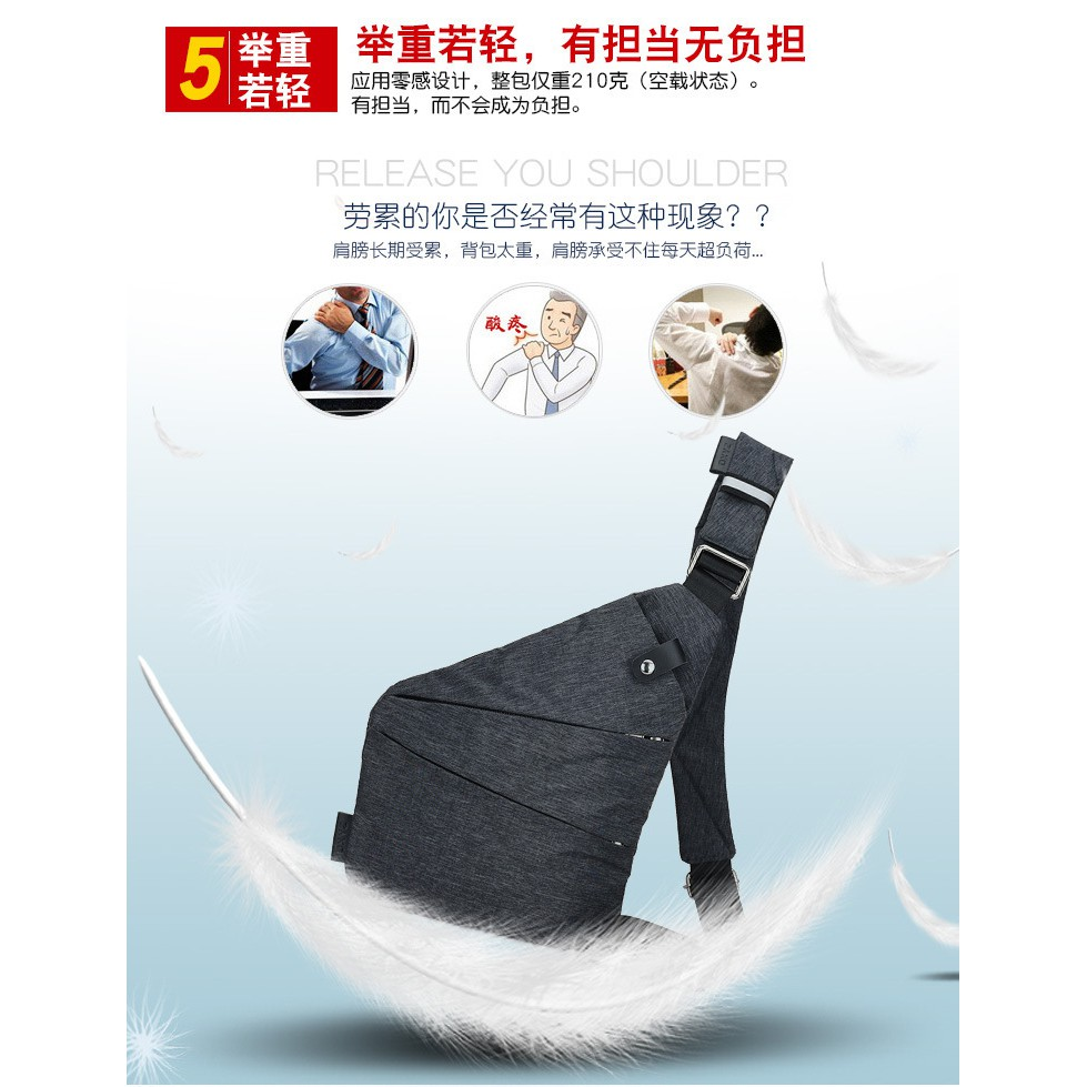 *SHIP 1DAY from MALAYSIA* Sport Travel Light Sling Chest Shoulder Bag Casual Anti Thief Backpack