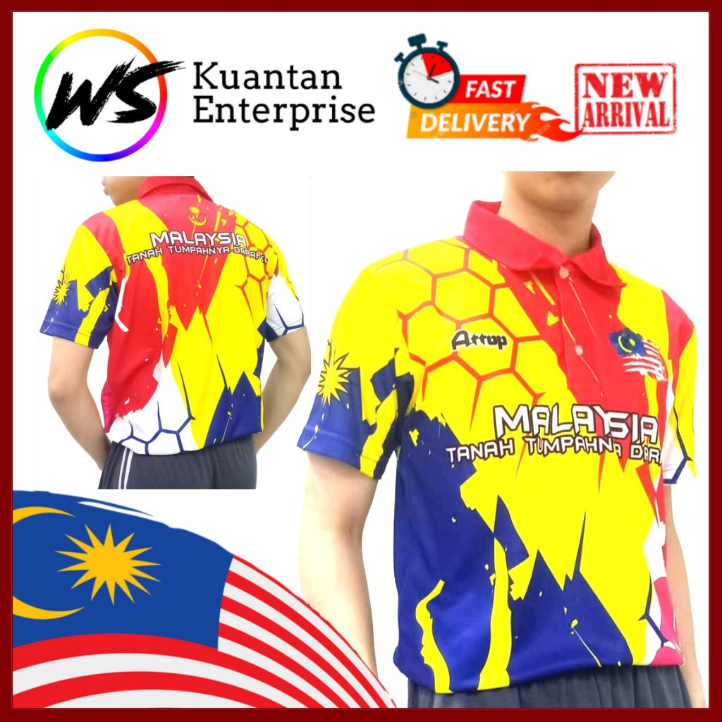 【100% Limited Edition】ATTOP Malaysia Jersey / Full Sublimation Microfiber Collar Jersey (S - 3XL)