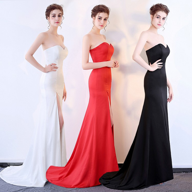 80833f9cb74 ProductImage. ProductImage. PO black white red slit bodycon mermaid fishtail  wedding prom gown ...