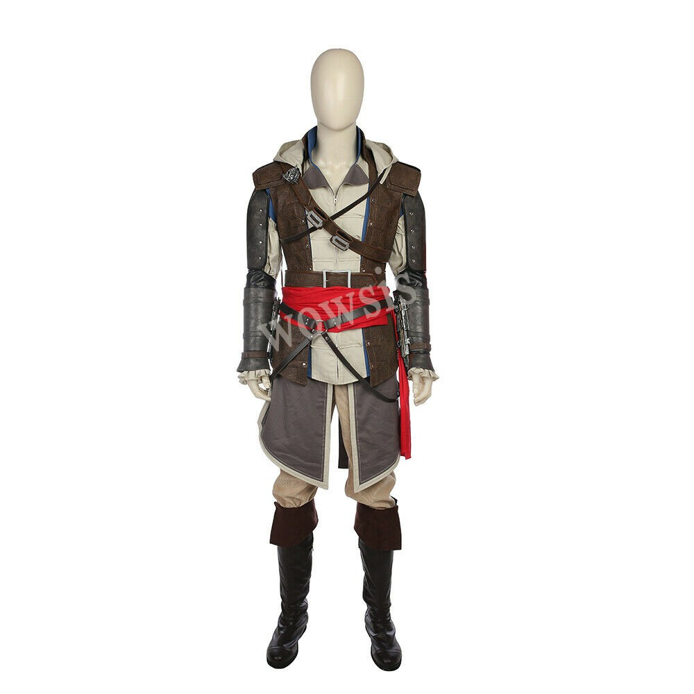 Assassin/'s Creed 4 Black Flag Edward Kenway Cosplay Gray Outfit Costume Suit Set