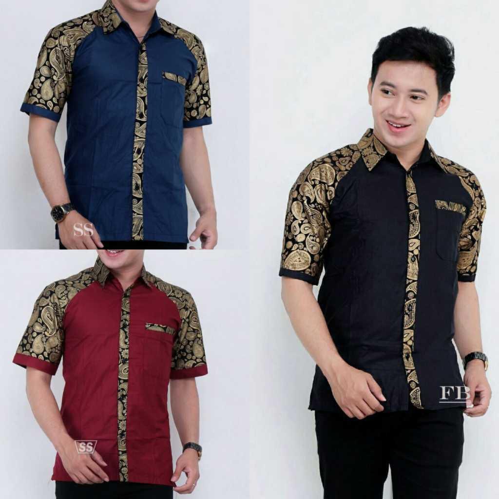 Hem Batik Men Formal Work Shirts / Formal Short Sleeve Shirts HB046