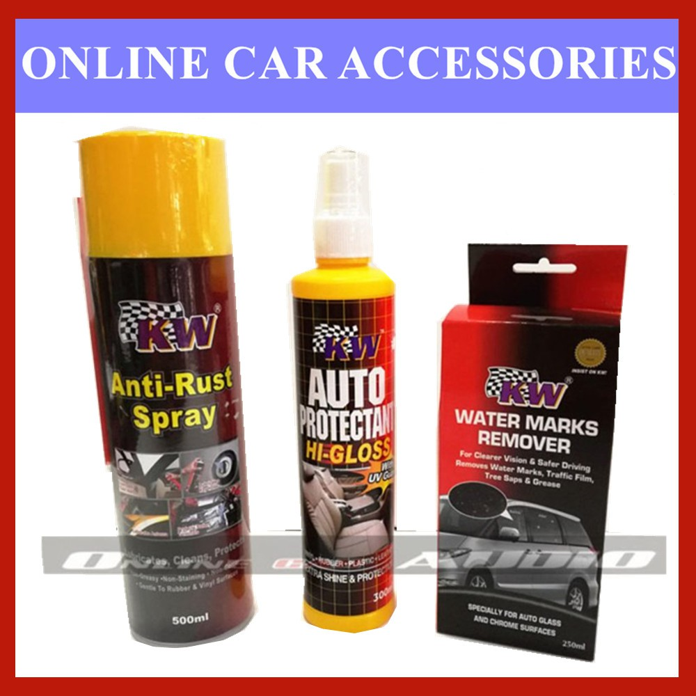 KW 1x Anti Rust Spray,1x KW Auto Protectant,1x Water Mark Remover (3 item in package)